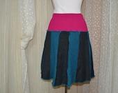 School Girl Skirt....upcycled wool....teal, grey and fuschia......petite...