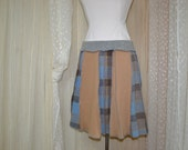 Upcycled sweater skirt.....tan, blue and brown plaid.....medium...