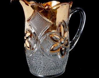 Gold Pitcher,  EAPG Cut Glass Pitcher with Gold Trim, Heavy Pitcher, Water Pitcher, Gilded Gold Flower