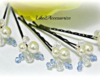 Something Blue Hair Pins Wedding Hair Clip Bridal Hair Pins Crystal Swarovski Pearls Bridesmaid Hair Accessories Pearl Hair Clip Bridal Gift