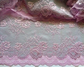 "Embroidered Tulle Wide Floral Lace, lilac, 7"" inch wide, 1 Yard For Apparel, Home Decor, Accessories, Mixed Media, Scrapbook"