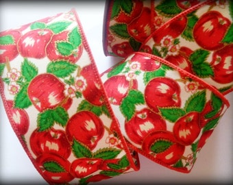 "Apples Wide Wired Ribbon, Multi-Red, 2 1/2"" inch wide,  1 yard, For Home Decor, Gift Baskets, Victorian & Romantic Crafts"