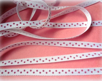 "Grossgrain Narrow Dot Ribbon, White / Pink, 1/4"" inch, 1 Yard, For Srapbook, Stationery, Accessories, Decor, Romantic Crafts"