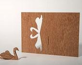 postcard wood - swan 3 cards