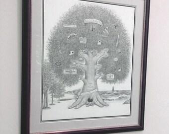 "14"" x 17"" Custom Illustrated Family Tree"