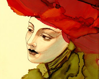 """Ink Painting, """"Son Chapeau"""", print, matted, backed, ready for framing"""