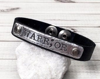 Semicolon Bracelet - Warrior Bracelet - Suicide Awareness - Story Isn't Over - Leather Cuff Bracelet