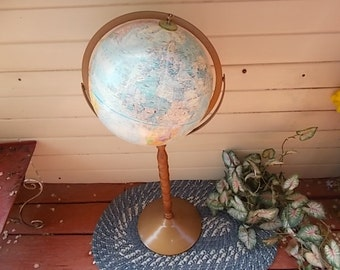 World Globe on Wood and Metal Stand 34 Inc Tall, School Room, Den, Office, Home Schooling, Men Cave,   :)S