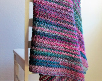 Boho Blanket / Super Soft Crochet Blanket / Bohemian Throw Blanket / Multi Color Afghan / Handmade Blanket