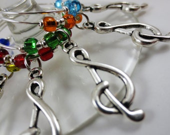 Treble Clef Music Themed Wine Charms