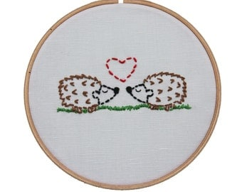 DIY Embroidery Kit Hedgies in Love Beginner Sewing Project