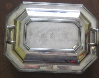 SILVERPLATE COVERED DISH Divided Silver Serving Art Deco Tray E P N S 2956 Letter K Monogram Personalized Dinnerware Antique Vintage Kitchen