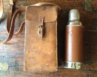 Edwardian English Thermos Flask Leather Case Fox Huntsman Equestrian Travel Case