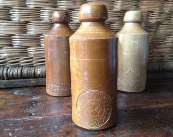 1800s English Pottery Stoneware Ginger Beer Pint Bottle, John Grundy Stockport England Stamp