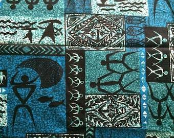 3 Yards Vintage 60s Polynesian Tiki Fabric Island Tribe Bark Cloth Beautiful Teal Blue and Black Mid Century Modern Graphic Cute Bright Fun