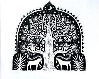 Tree. Limited Edition Linocut print.