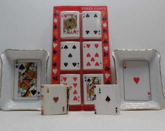 Poker Night  Porcelain Cards Ash Trays New Old Stock Matches and Matchbox Covers 11pc Set