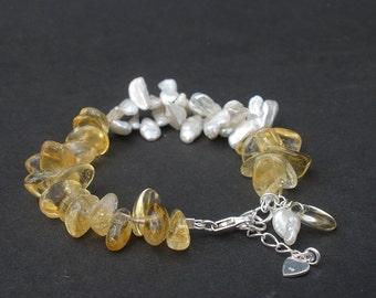 Gemstone Golden Yellow Citrine, Keishi Pearl, 925 Sterling Silver Bracelet, Kishi Pearl Bracelet, Citrine Bracelet, Cluster Bracelet