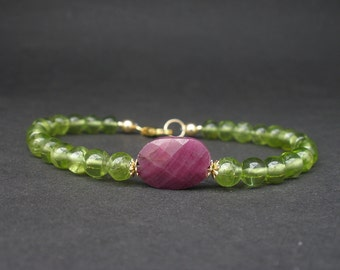 Natural Gemstone Peridot AA Grade 5.5mm Round Bead, Gemstone Ruby Faceted Oval Disc, 14kt Yellow Gold Filled Bracelet