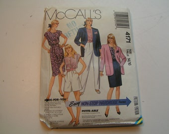 Vintage McCalls Pattern 4171 Miss Unlined Jacket Top Skirt Pants and Shorts