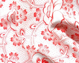 vintage floral fabric for patchwork, quilting or pillowcases, antique, red flowers, french fabric, 68