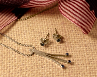 Avon Precious Sapphire Pendant Necklace with Matching Earrings - Vintage 1978