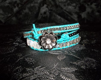 Moonflower Leather Wrap Bracelet