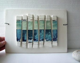 Horizon Abstract.  Blue.  Polaroid Transfers Printed on Fired Clay.  Seascape.  Horizon Fragments.