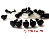 8mm Safety eyes Doll eyes Toy eyes Doll Parts Animal eyes Plush eyes Teddy Bears eyes Plastic eyes - Black - 10 pairs C5