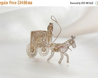 Biggest Sale Ever Silver Filigree Brooch Horse and Buggy Figural