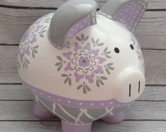 Artisan hand painted ceramic personalized piggy bank ~  Dahlia in lavender grey