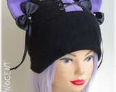 Black, Cosplay Cat / Neko Hat with Removable Bows ~ Pastel Goth Version