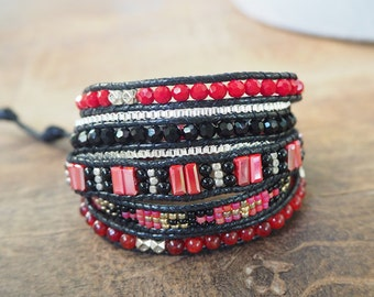 5 time red crystal wrap bracelet.