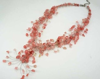 Cherry quartz flower necklace.