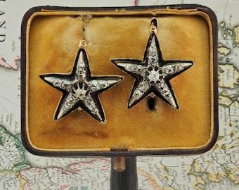 Victorian 1.20 Ct old mine cut diamond rare star earrings