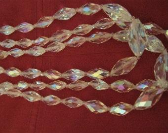 3 strand Aurora Borealis Crystal Necklace