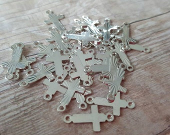 Lot of 10 Mini silver Cross connectors