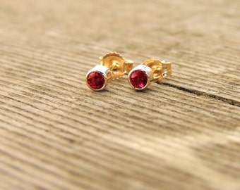 Ruby Stud Earrings - Lab-Created Ruby Stud Earrings, tiny ruby earrings, minimalist ruby earrings, thin ruby earrings, handmade to order