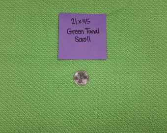 Green Tonal Scroll Remnant 21x45 Quilting Cotton