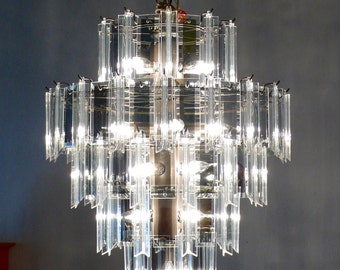 Mid-Century Modern Five-Tier Lucite Resin and Smoky Glass Mirror Pendant Wedding Cake Chandelier 16 Bulb