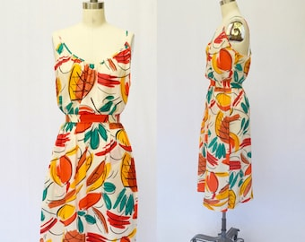 Vintage Silk Tropical Abstract Fruit Printed Tank Top and Skirt Set Separates XS S