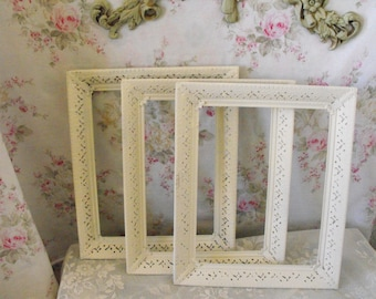 SET OF 3 Shabby Chic white painted frames - ORMOLU Filigree frames - Distressed  - Wedding prop - You get these - no substitutes