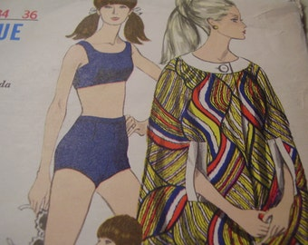 Vintage 1960's Vogue 7052 Swim Suit and Cover-up Sewing Pattern, Size 14, Bust 34