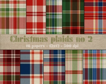 Christmas Plaids No.2 digital scrapbooking paper pack - 10 tartan printable jpeg papers, 12x12, 300 dpi - instant download