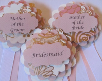 Wedding Party Badges, Mother of the Bride, Matron of Honor, Bridesmaid Badge