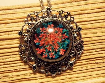 Blue and Pink Preserved Flower Necklace