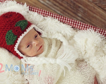 Crochet Holly Hat, christmas hat, photo prop