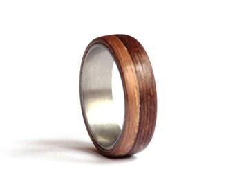 Titanium Wedding Ring, Mens Wedding Band, Wood Mens Ring, Wenge Wood Wedding Ring, American Walnut Ring