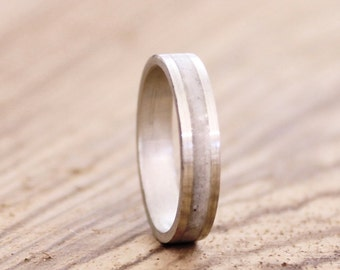 Women's band sterling silver wedding ring with crushed white quartz inlay