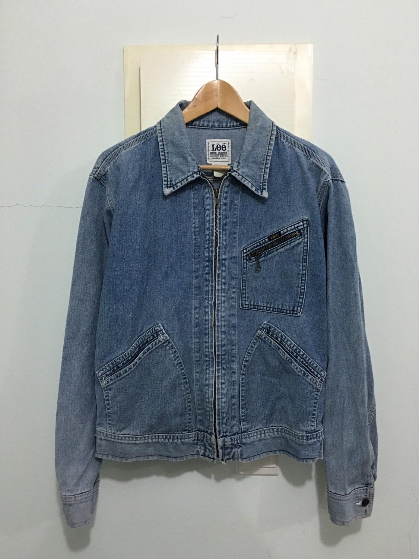 vintage denim work clothes zipper blue by thriftedisabelle